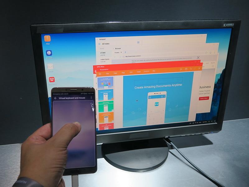 PC ModeはHDMIケーブルでディスプレイに接続し、マルチウィンドウでアプリを利用できる。端末はタッチパッドとして利用可能
