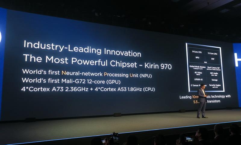 チップセットには同社が開発した「Kirin 970」を初搭載。NPU、GPU、CPUから構成され、高いパフォーマンスを実現する