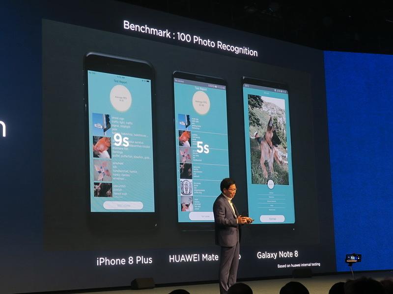 100枚の写真を認識する速度を計測したところ。iPhone 8 Plusの9秒に対し、HUAWEI Mate 10 Proは5秒で完了。Galaxy Note8はまだ完了していない