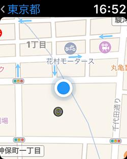 マップを起動すると、現在地の地図が読み込まれる