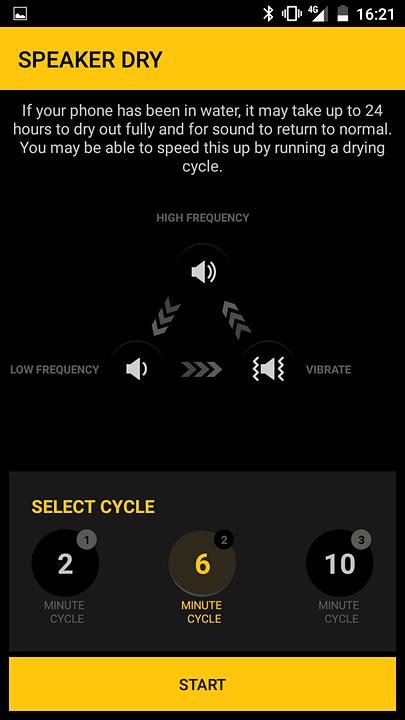 スピーカー内に溜まった水を高周波音や振動で吐き出すアプリ