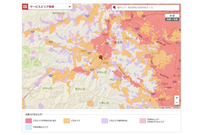 2017年11月5日時点のNTTドコモサービスエリア。埼玉県秩父市周辺ですが、LTEも3Gも含めると広い範囲をカバーしています。※マップはNTTドコモWebサイトより抜粋。