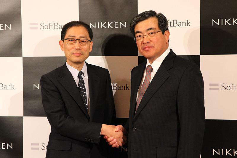 日建設計 代表取締役社長 亀井忠夫氏(左)とソフトバンク代表取締役副社長兼COO 今井康之氏