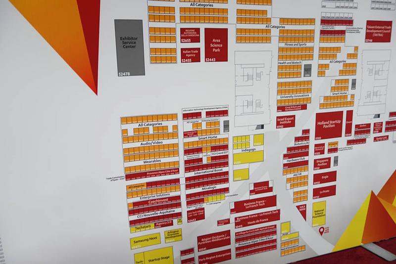 Eureka Parkのフロアマップ(一部)。オレンジが独立系、赤がパビリオン、黄色がスポンサー(Kickstarterとか)