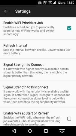 設定画面。「Signal Strength to Connect」と「Signal Strength to Disconnet」を設定することで、より安定して通信できるアクセスポイントに自動で切り替えてくれる