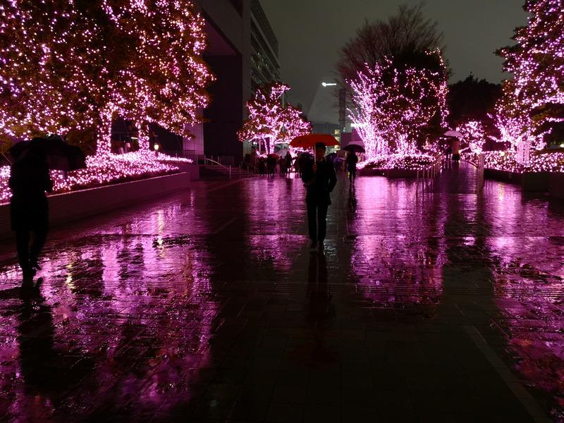 """大雨で路面に激しく反射するイルミネーション。モノクロだと""""異常さ""""が伝わりづらく構図の甘さが露呈する"""