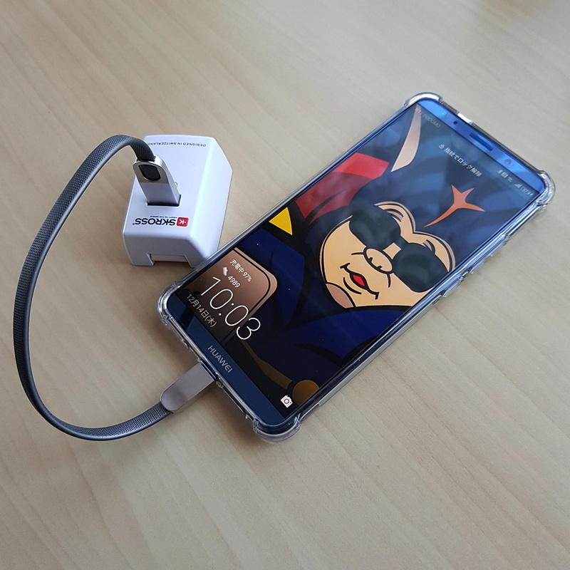 スマホへの充電はスマホに適合するショートUSBケーブルを用意しておくと便利だ
