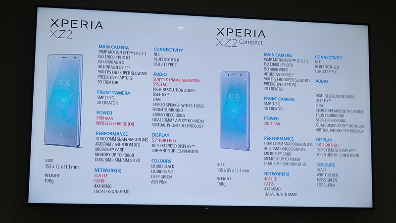 Xperia XZ2とXperia XZ2 Compactのスペックシート。チップセット(CPU)などは共通仕様となっている