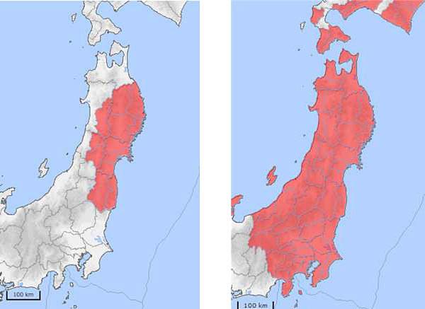 東日本大震災で、従来手法での予測(左)と、当時のデータをもとにしたPLUM法のシミュレーション(右)