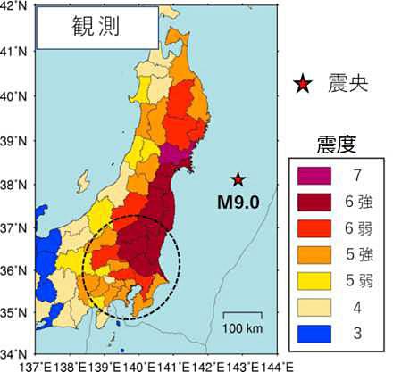 東日本大震災での実際の観測
