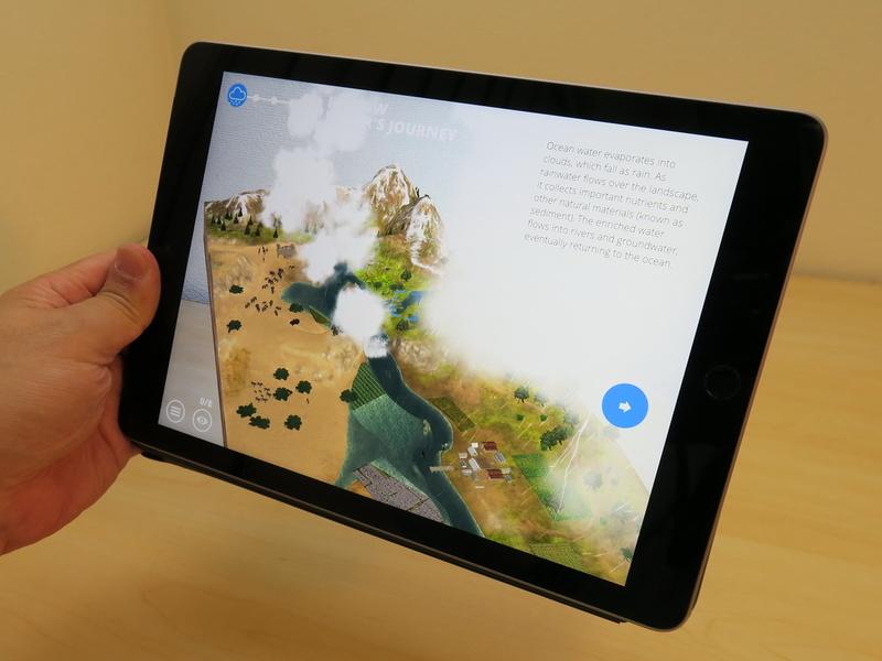 WWF(世界自然保護基金)監修のARアプリ「WWF Free Rivers」では気象と河川の関係について学べる。ただし、英語版