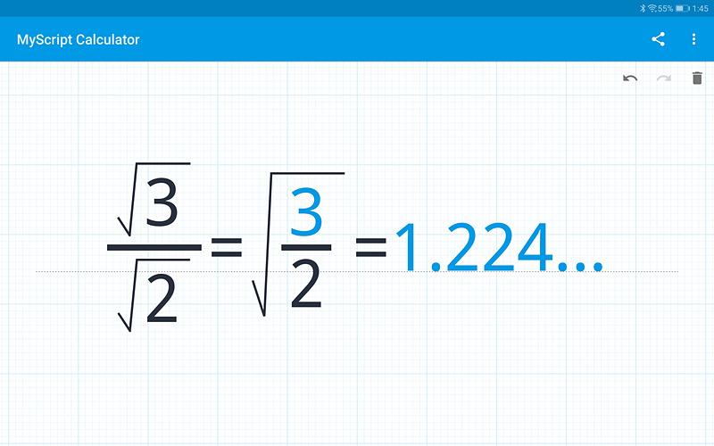 標準でインストールされている「MyScript Calculator」はM-Penで数式を入力すると、自動的に認識して、画面のように表示され、計算も実行される