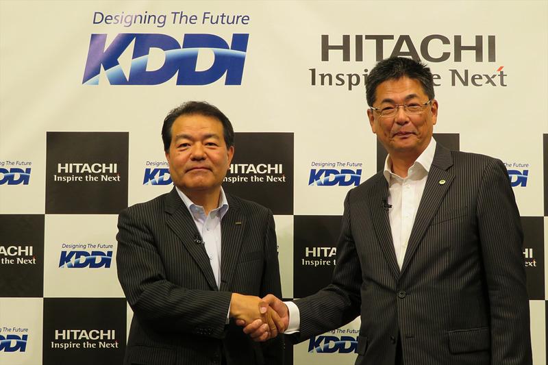 KDDI 取締役執行役員常務の森敬一氏(左)と日立製作所 執行役常務 社会ビジネスユニットCEOの永野勝也氏(右)