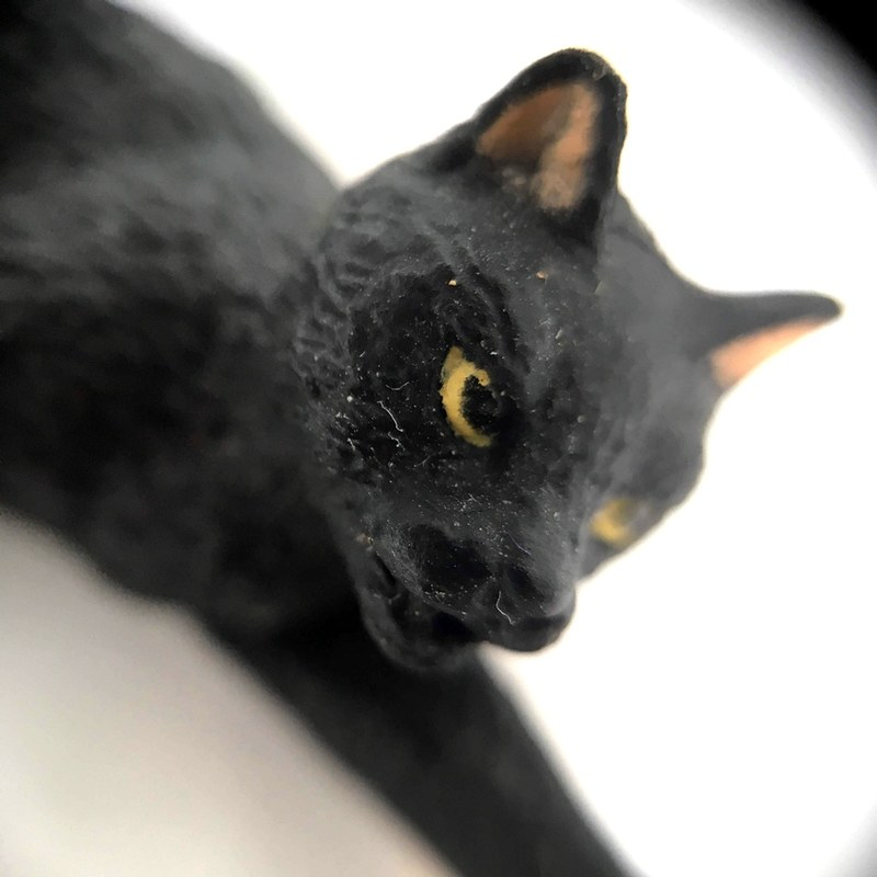 マクロレンズで撮影。小さな猫のフィギュアの顔のホコリまでハッキリ写ります