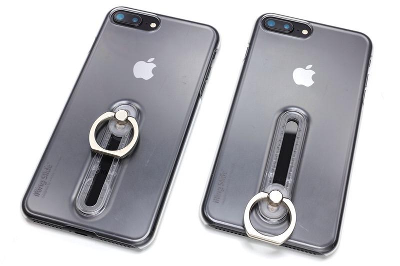 iRing Slideはポリカーボネート製のiPhone用ジャケット。ブラックとクリアがありますが、クリアのほうは透明に近い半透明で、硬質なジャケットです。背面には自由に動くリングがあり、リング位置は背面中央から下まで段階的に動かせます。