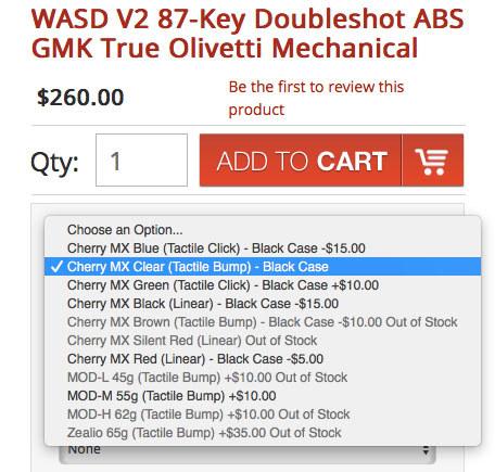 キーキャップとしてGMKのダブルショットタイプがセットされています。キースイッチを「Cherry MX Clear」(クリア軸)として注文したところ、US260ドルでした。この「クリア軸」というのは、押下時に音はしないもののクリック感があるタクタイル(tactile)タイプのキースイッチで、押下時の重さはCherry MXの「茶軸」より少し重くなっています。