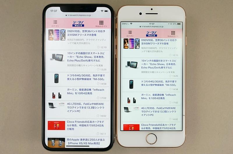 iPhone XS(左)のディスプレイとiPhone 8(右)の本体サイズがほぼ同じくらいの大きさ。額縁の分だけiPhone XSの本体サイズが大きい