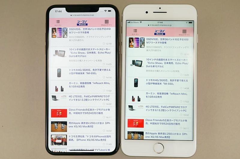 iPhone XS Max(左)のディスプレイはiPhone 8 Plus(右)のディスプレイを上下に引き延ばしたようなイメージ。幅もほぼ同じだ