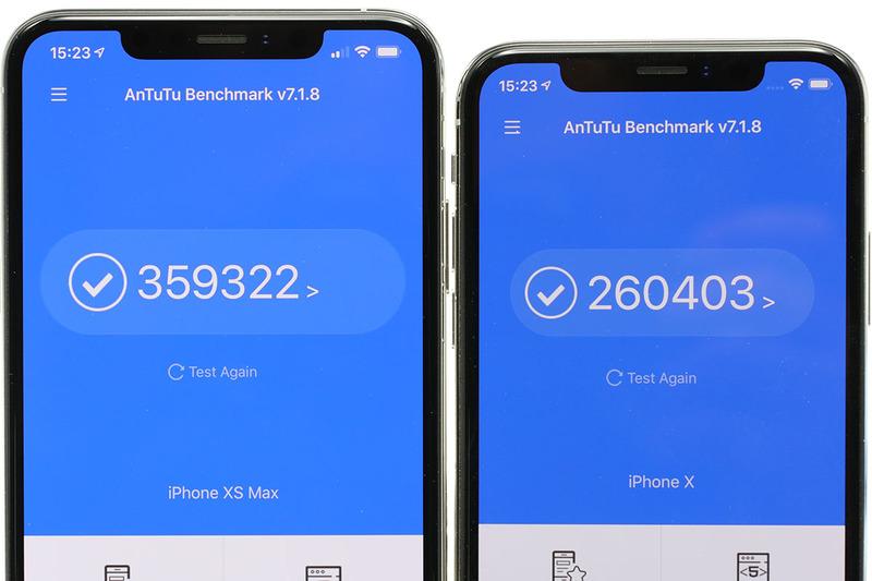 GeekbenchやAnTuTuでベンチマークを取ってみました。それぞれ、左側がiPhone XS Maxで、右側がiPhone Xです。iPhone XS Maxのほうが処理性能が高いものの、「そこそこ順当な処理性能向上」といった印象に。