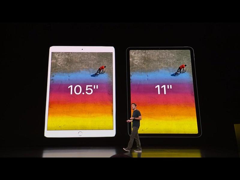 10.5インチiPad Proと同じサイズだが、上下が狭額縁化したことで画面サイズが大きくなった(左右のベゼルは計算上、大きくなっている)