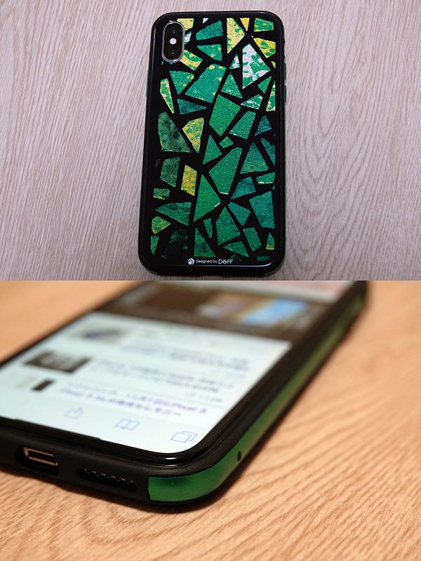 Deffの「Hybrid Case Etanze for iPhone XS」ケース。ステンドグラス風の背面を自慢したくなる一品だが、ここではフィルムとの相性に注目したい