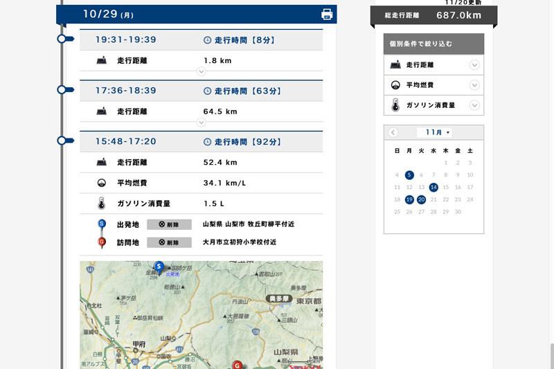 アプリや会員サイトでドライブノートを表示している様子。