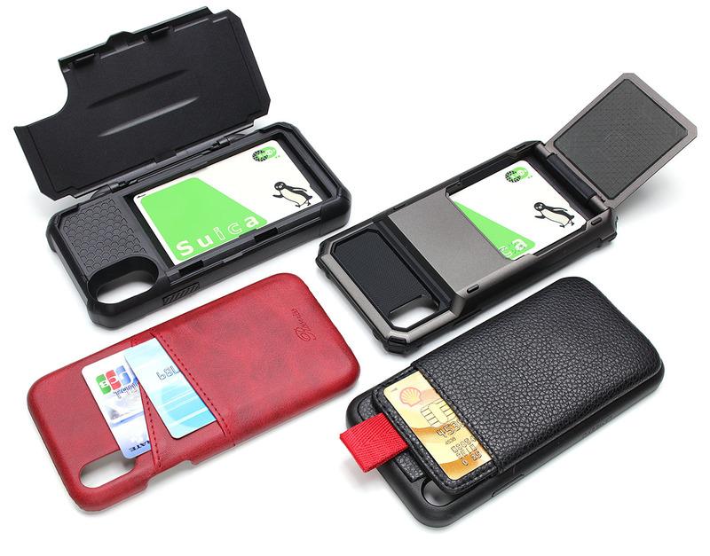 iPhone X用ケース各種。クレジットカードや電子マネーカードなどが入るケースをアレコレと試しました。