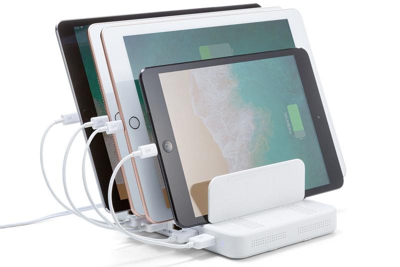 複数台のスマートデバイスを立て掛けられつつ充電もできるという製品のレビューです。