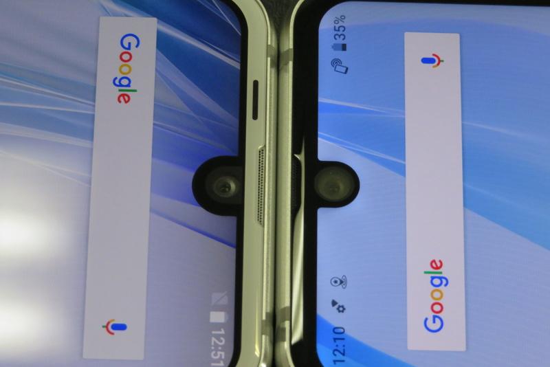 先代モデルとノッチの比較。AQUOS R compact(左)とAQUOS R2 compact(右)
