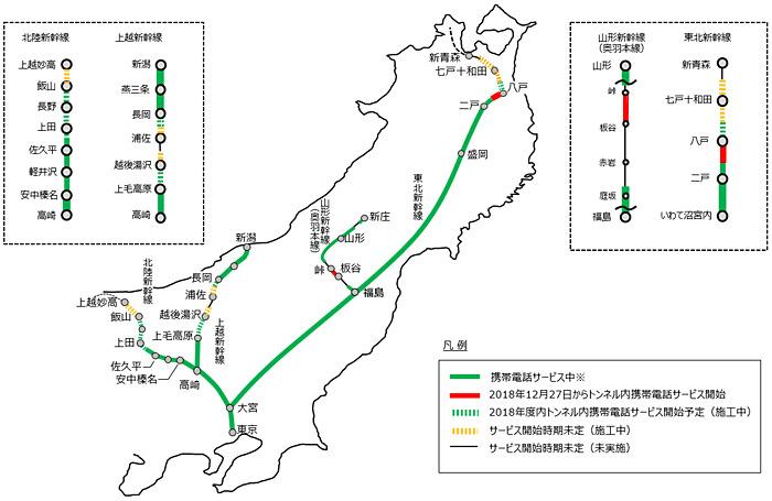 東日本旅客鉄道域内の新幹線等におけるトンネル内携帯電話サービス提供状況