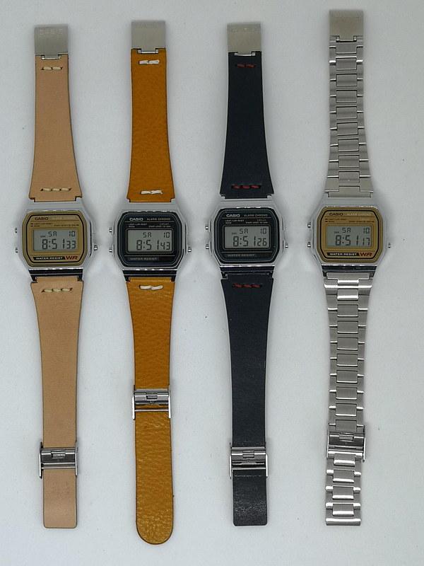 一般的には常識の組み合わせであるデジタル腕時計とステンレスベルトだが、革のベルトに変更することで大きくイメージが変化する。文字盤のカラーもベルトとの組み合わせで選びたくなる