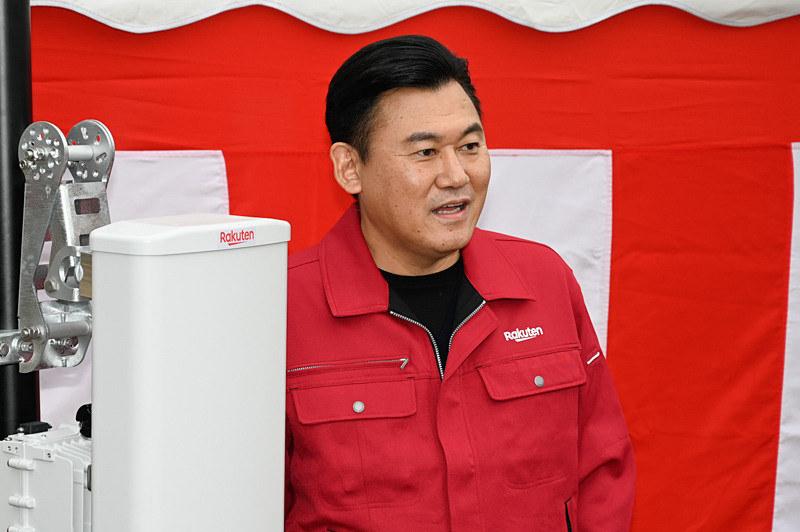 12月7日、楽天の基地局工事安全祈願祭での三木谷浩史社長