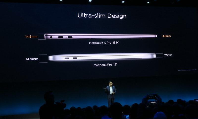 MateBook X ProはMacbook Pro 13インチよりも前後ともに薄く仕上げられている