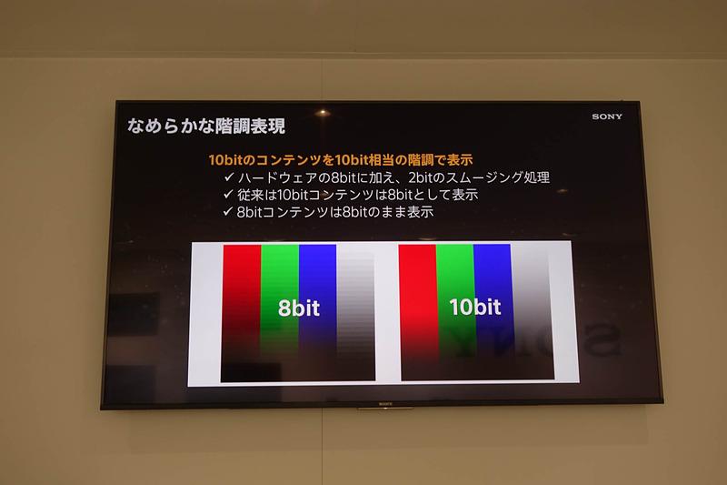 実はディスプレイ自体は8ビット階調対応で、2ビット分はスムージング処理で再現している