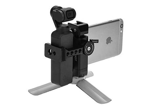 Woohotブランド品。税込2588円でした。スマートフォンホルダーで、Osmo Pocketを固定する機能もある、という感じの製品。アルミ製でつくりがよく、工作精度も高いです。ネジ穴も豊富なので、スマートフォン用リグをつくる場合にも使えそう。