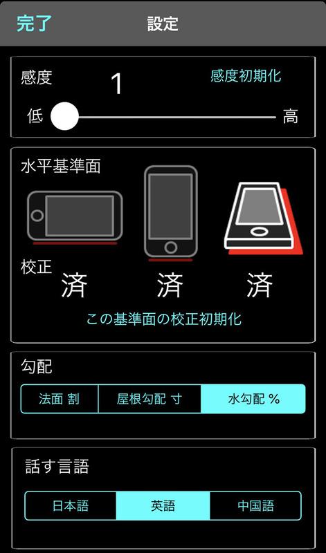 iOS版アプリ「角度傾斜計」の表示例。角度や勾配の計測基準は、端末の縦や横や画面を基準にすることができます。前述の%の勾配と「水勾配」は同じです。