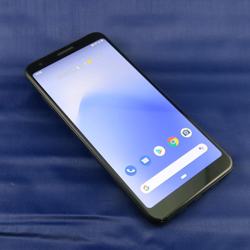 Google「Pixel 3a」、160.1mm(高さ)×76.1mm(幅)×8.2m(厚さ)、約167g(重量)、Just Black(写真)、Purple-ish、Clearly Whiteをラインアップ