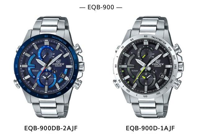 カシオのEDIFICE(エディフィス)ブランドEQB-900シリーズ。スマートフォンリンク機能に対応した腕時計で、Bluetoothによりスマートフォンと接続でき、スマートフォンから腕時計を操作することができます。EQB-900シリーズ2製品のうち「EQB-900D-1AJF」を購入しました。実勢価格は3万円前後。
