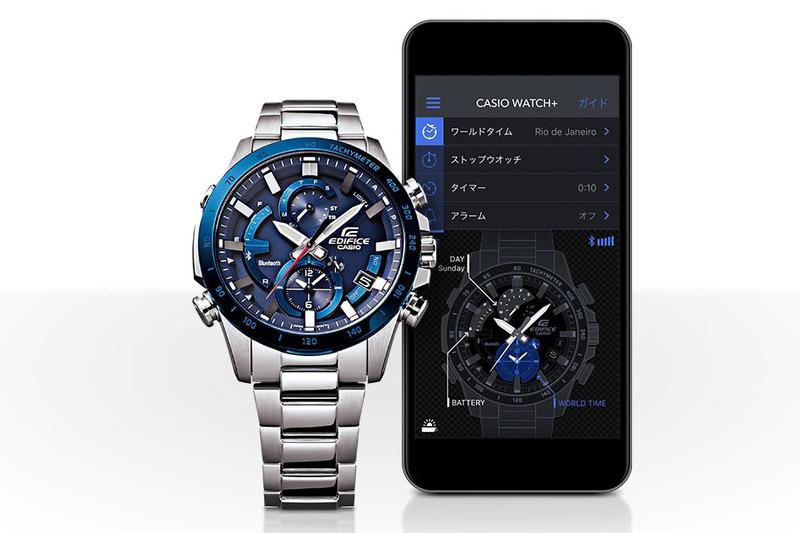 EQB-900をスマートフォンとBluetooth接続して専用アプリ「CASIO WATCH+」を使うと、スマートフォンからEQB-900の各種設定・機能利用を行えるようになり、自動時刻修正も機能します。従来なら腕時計の説明書を参照しつつボタンやリュウズを操作して行っていたほとんどのことが、スマートフォンから行えるようになり、と~っても便利♪