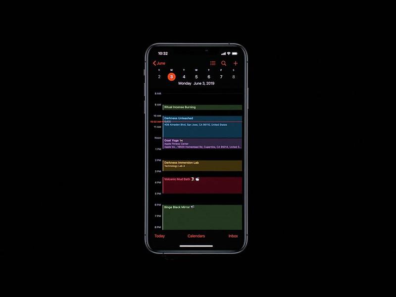 標準カレンダーアプリのダークモード表示