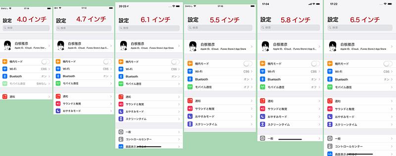 左からiPhone SEなどの4インチ、iPhone 8などの4.7インチ、iPhone XRの6.1インチ、iPhone 8 Plusなどの5.5インチ、iPhone XSなどの5.8インチ、iPhone XS Maxなどの6.5インチのスクリーンショット
