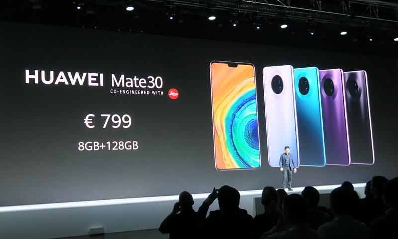 HUAWEI Mate30は799ユーロ(約9万5000円)。VATを含まないと、おそらく8万円台が実勢価格