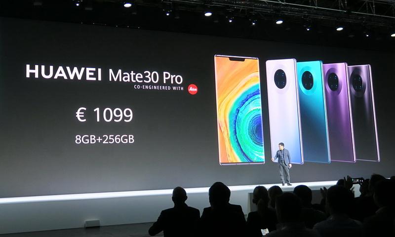 HUAWEI Mate30 Proは1099ユーロ(約13万円)だが、おそらくVAT(付加価値税)込みの値段のため、実際には10万円前後に落ち着くことが予想される