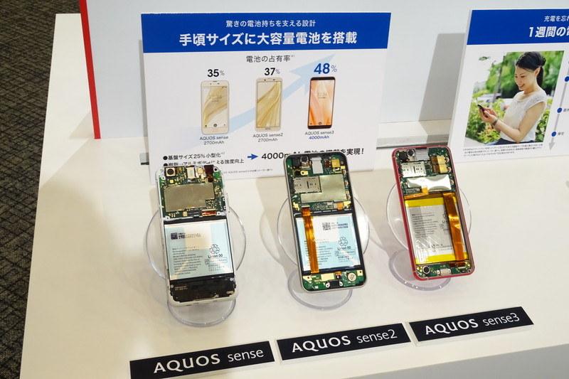 AQUOS sense、AQUOS sense2、AQUOS sense3の分解モデル。手頃なサイズながら基盤の小型化により電池の占有率が48%に