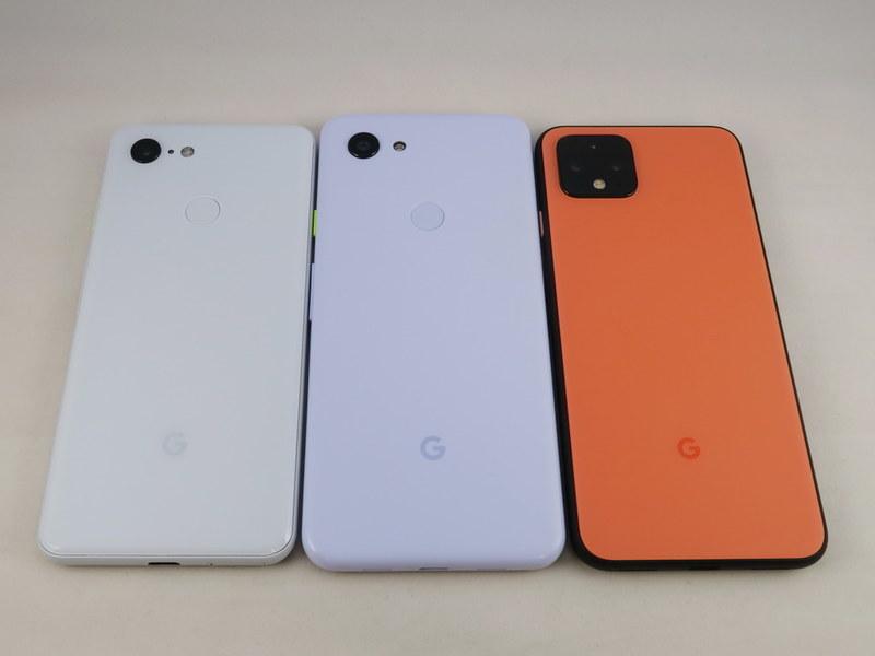 Pixel 3(左)、Pixel 3a(中央)、Pixel 4(右)の背面。Pixel 4はPixel 3aよりもコンパクトな仕上がり