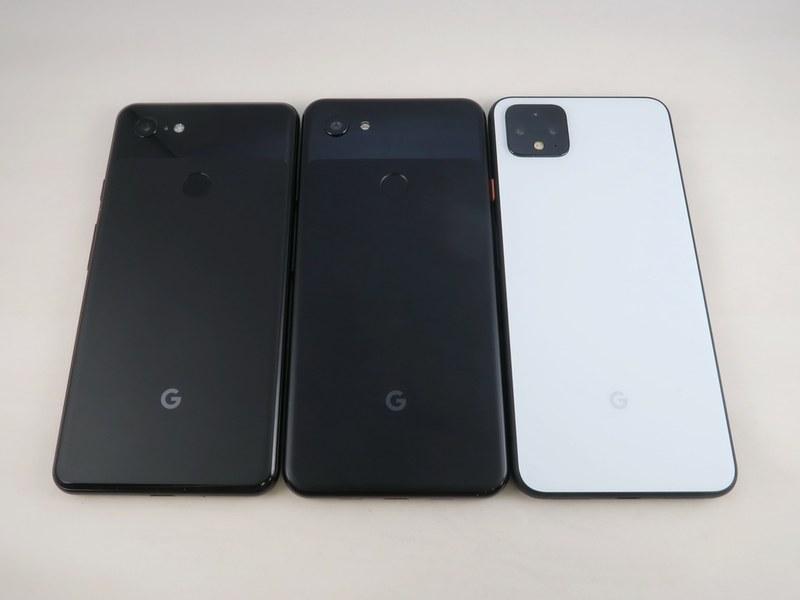 Pixel 3 XL(左)、Pixel 3a XL(中央)、Pixel 4 XL(右)の背面。Pixel 4はかなりカメラが強調されたデザイン