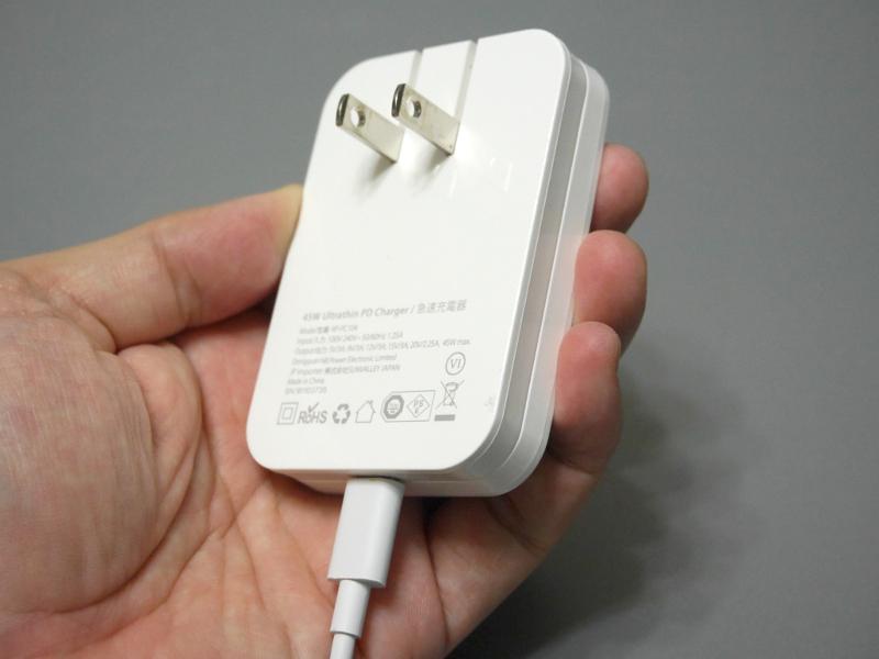 USB Type-Cポートを1つ搭載。最大出力は45W、テスタでチェックした限りではおかしなPDOも見受けられなかった