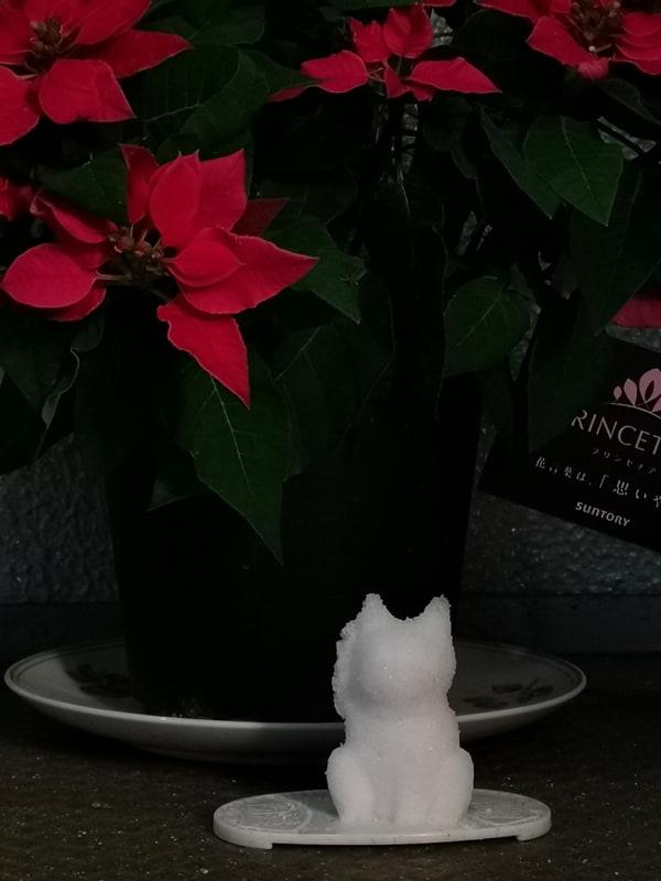 乾燥して盛り塩招き猫が塩崩れしないように適度なインターバルで霧吹きで水を吹きかけると効果があるらしい