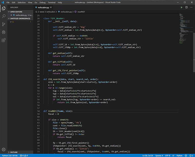 プログラムコードの一部。わずか80ステップ程度で目的を達成できるのだからいい時代になったものだ