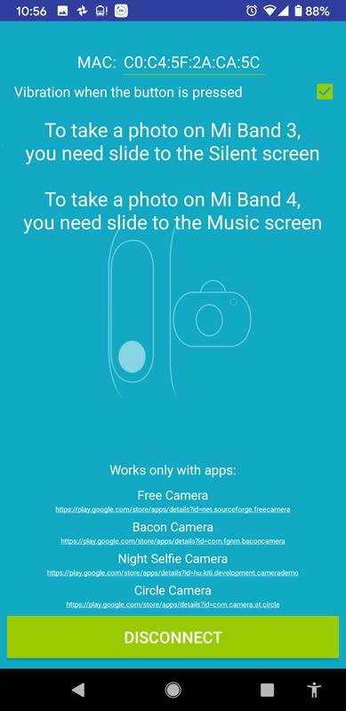 サードパーティ製アプリケーションであれば、たとえばMiスマートバンド4をスマートフォンカメラのリモートシャッターにするアプリなんていうのもあります。これ、わりと便利です。
